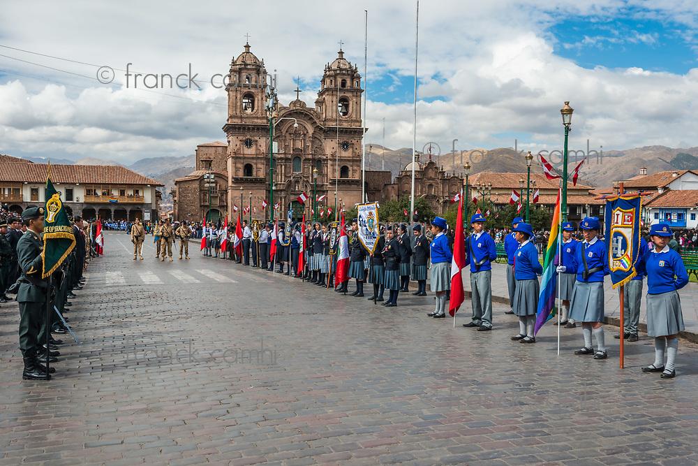 Cuzco, Peru - July 14, 2013: army parade in the Plaza de Armas at Cuzco Peru on july 14th, 2013