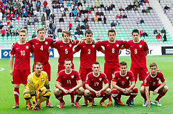 Team of Poland (standing row L-R) Adrian Cierpka of Poland, Gracjan Horoszkiewicz of Poland, Igor Lasicki of Poland, Konrad Budek of Poland, Sebastian Rudol of Poland and Mariusz Stepinski of Poland; (first row L-R) Oksar Pogorzelec of Poland, Vincent Rabiega of Poland, Rafal Wlodarczyk of Poland, Karol Linetty of Poland and Patryk Stepinski of Poland during the UEFA European Under-17 Championship Semifinal match between Germany and Poland on May 13, 2012 in SRC Stozice, Ljubljana, Slovenia. Germany defeated Poland 1-0 and qualified to finals. (Photo by Vid Ponikvar / Sportida.com)