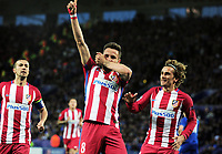 Football - 2016 / 2017 UEFA Champions League - Quarter-Final, Second Leg: Leicester City vs. Atletico Madrid<br /> <br /> Saul Niguez of Atletico Madrid celebrates scoring his first half goal withAntoine Griezmann at the King Power Stadium.<br /> <br /> COLORSPO RT/ANDREW COWIE