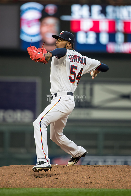 MINNEAPOLIS, MN- APRIL 3: Ervin Santana #54 of the Minnesota Twins pitches against the Kansas City Royals on April 3, 2017 at Target Field in Minneapolis, Minnesota. The Twins defeated the Royals 7-1. (Photo by Brace Hemmelgarn) *** Local Caption *** Ervin Santana