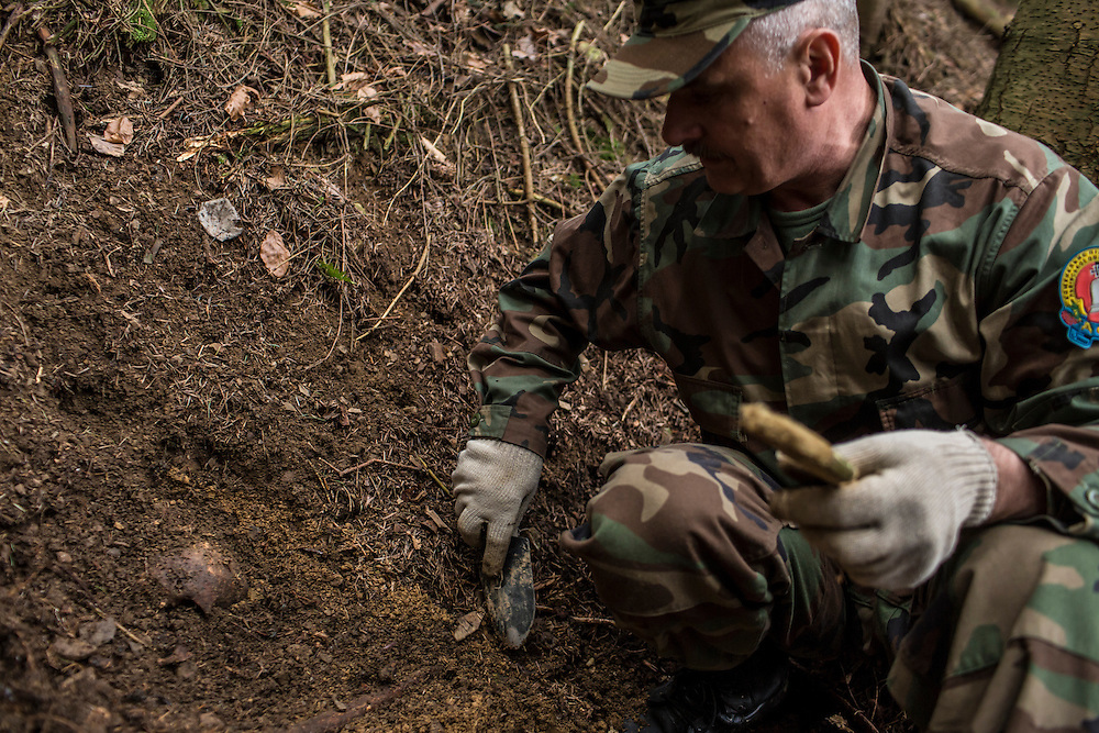 SKOLE, UKRAINE - MAY 1, 2015: Volodymyr Kharchuk, deputy director of the organization Dolya, unearths a skull at the site of a World War II-era mass grave believed to contain the remains of Ukrainian partisans in Skole, Ukraine. Dolya was formed to excavate and repatriate remains from World War II, though its focus is often on locating the graves of Ukrainian partisans killed by Soviet forces. CREDIT: Brendan Hoffman for The New York Times