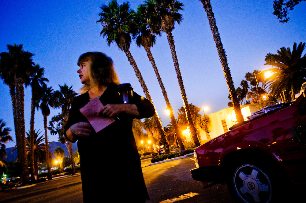 Roslyn Scieuerman works as a volunteer for the organisation New Beginnings who helps people who live in their cars in parking lots in Santa Barbara, California..Photographer: Chris Maluszynski /MOMENT