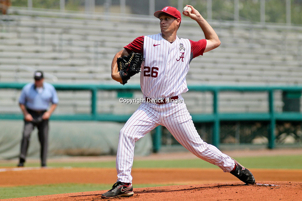 June 05, 2011; Tallahassee, FL, USA; Alabama Crimson Tide pitcher Jonathan Smart (26) throws against the UCF Knights during the first inning of the Tallahassee regional of the 2011 NCAA baseball tournament at Dick Howser Stadium. Mandatory Credit: Derick E. Hingle
