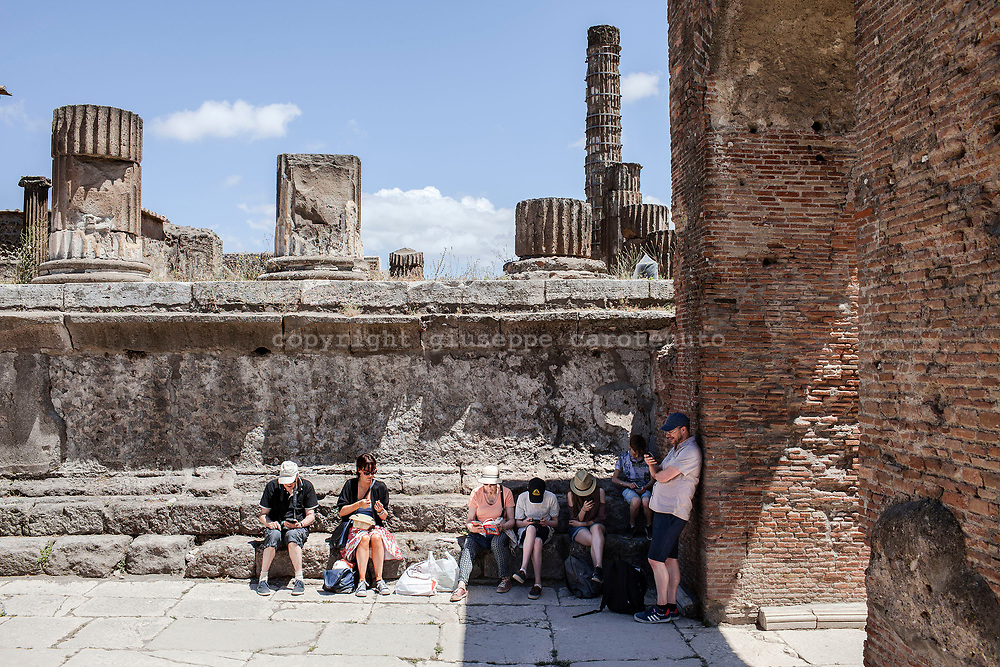 """20 May 2017, Pompei, Naples Italy - 20 May 2017, Pompei, Naples Italy - Tourists inside the """"Forum"""" of ancient city of Pompeii."""