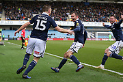 GOAL - Millwall defender Alex Pearce (15) celebrates with Millwall midfielder Jed Wallace (7)  and Millwall midfielder Ryan Tunnicliffe (18) 2-0 during the The FA Cup quarter final match between Millwall and Brighton and Hove Albion at The Den, London, England on 17 March 2019.
