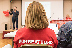 © Licensed to London News Pictures. 23/07/2017. London, UK. Labour party member wears a #UNSEATBORIS t-shirt at a  meeting at Hillingdon Civic Centre to unseat Foreign Secretary Boris Johnson from his Uxbridge and South Ruislip seat. Photo credit: Ray Tang/LNP