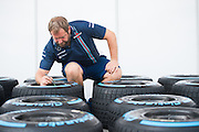 October 20, 2016: United States Grand Prix. Williams mechanic marking Pirelli tires