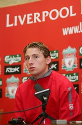 LIVERPOOL, ENGLAND - THURSDAY, JANUARY 5th, 2006: Liverpool's new signing Jan Kromkamp at a press conference at Melwood Training Ground. Jan Kromkamp switches from Villarreal with Josemi going to Spain. (Pic by David Rawcliffe/Propaganda)