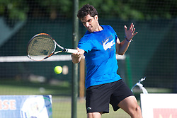 LIVERPOOL, ENGLAND - Wednesday, June 19, 2013: Pablo Anduja of Spain practices on one of the outside courts ahead of the Liverpool Hope University International Tennis Tournament at Calderstones Park. (Pic by David Rawcliffe/Propaganda)