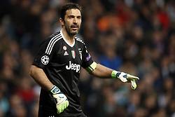 goalkeeper Gianluigi Buffon of Juventus FC during the UEFA Champions League quarter final match between Real Madrid and Juventus FC at the Santiago Bernabeu stadium on April 11, 2018 in Madrid, Spain