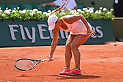 Yulia Putintseva (KAZ) loses her temper during the preliminary rounds of the Roland Garros Tennis Open 2017 at  at Roland Garros Stadium, Paris, France on 2 June 2017. Photo by Jon Bromley.