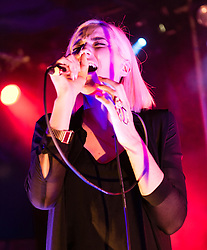 "© Licensed to London News Pictures. 28/05/2015. London, UK.   Indiana performing live at Scala.   Indiana (real name Lauren Henson) is a British singer-songwriter from Loughborough. Her 2015 debut album, No Romeo, includes the UK top 20 single ""Solo Dancing"" (2014).  Photo credit : Richard Isaac/LNP"