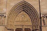 France Paris. 4th. Cathedral Notre Dame de Paris main Front door