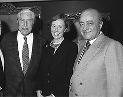 Left to right, MR & MRS TINY ROWLAND and MR MOHAMMED <br /> AL FAYED  in 1993.   LAU 8 3ORO