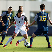 09 September 2018: San Diego State Aztecs midfielder Laukoa Sanots (7) brings the ball past midfield in the first half. The San Diego State men's soccer team beat UC Irvine in overtime 2-1 Sunday afternoon at the SDSU Sports Deck.