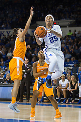 Kentucky guard Makayla Epps drives to the basket and scores in the second half. Epps lead all scores with 23 points. <br /> <br /> The University of Kentucky hosted the University of Tennessee, Monday, Jan. 25, 2016 at Memorial Coliseum in Lexington .