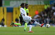 Leeds United striker Jordan Rolly Botaka (20) passes the ball during the Sky Bet Championship match between Leeds United and Brighton and Hove Albion at Elland Road, Leeds, England on 17 October 2015.