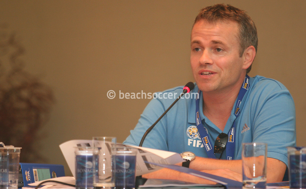 Football - FIFA Beach Soccer World Cup 2006 - Team Coordination Meeting for Group Stage - Rio de Janeiro - Brazil 01/11/2006 - Sven Schaeffner speaks during the meeting -<br /> Event Title Boad Mandatory Credit: FIFA / Ricardo Moraes