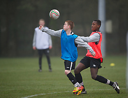 CARDIFF, WALES - Thursday, March 15, 2012: Wales U16's Corrig McGonigle (Ysgol David Hughes) (L) and Rollin Menayese (Cardiff City FC & St Joseph RC High School) during a training session at the Glamorgan Sports Park. (Pic by David Rawcliffe/Propaganda)