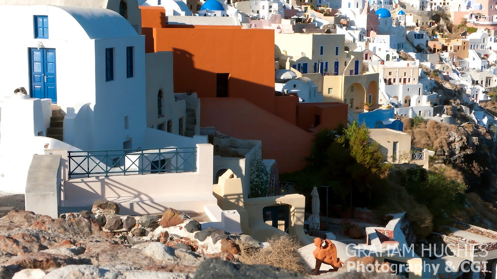 Oia dwellings in Santorini, Greece.