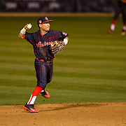 16 February 2018: San Diego State baseball opened up the season against UCSB at Tony Gwynn Stadium. San Diego State infielder Jacob Maekawa (3) tracks down a ball up the middle to end the fourth inning. The Aztecs beat the Gauchos 9-1. <br /> More game action at sdsuaztecphotos.com