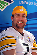 TAMPA, FL - JANUARY 27: Quarterback Ben Roethlisberger #7 of the AFC Pittsburgh Steelers speaks to the media during Super Bowl XLIII Media Day at Raymond James Stadium on January 27, 2009 in Tampa, Florida. ©Paul Anthony Spinelli *** Local Caption *** Ben Roethlisberger