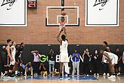 No Shnacks power forward Onyeka Okongwu (7) shoots a free-throw during a Drew League basketball game, Saturday, June 8, 2019, in Los Angeles.  (Dylan Stewart/Image of Sport)
