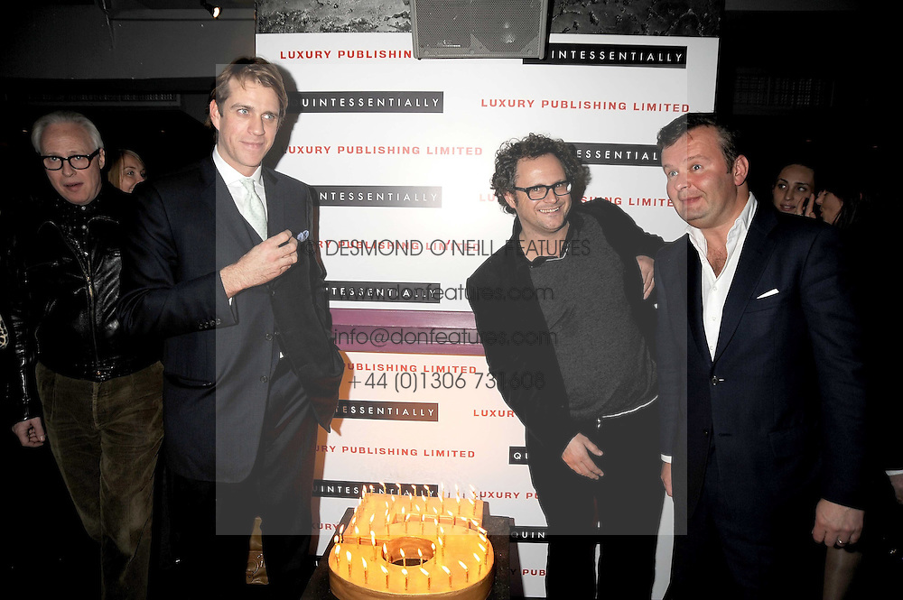 Left to right, BEN ELLIOT, JAMES BROWN and ALAN O'SULLIVAN at the Quintessentially Christmas Party held at Kitts, Sloane Square, London on 2nd December 2008.
