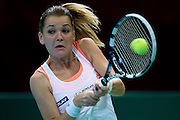 Agnieszka Radwanska from Poland competes in WTA women's tennis tournament BNP Paribas Katowice Open 2014 at Spodek Hall in Katowice, Poland.<br /> <br /> Poland, Katowice, April 08, 2014<br /> <br /> Picture also available in RAW (NEF) or TIFF format on special request.<br /> <br /> For editorial use only. Any commercial or promotional use requires permission.<br /> <br /> Mandatory credit:<br /> Photo by &copy; Adam Nurkiewicz / Mediasport
