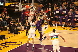 February 27, 2019 - Los Angeles, CA, U.S. - LOS ANGELES, CA - FEBRUARY 27: Los Angeles Lakers Forward LeBron James (23) going in for a dunk during the first half of the New Orleans Pelicans versus Los Angeles Lakers game on February 27, 2019, at Staples Center in Los Angeles, CA. (Photo by Icon Sportswire) (Credit Image: © Icon Sportswire/Icon SMI via ZUMA Press)