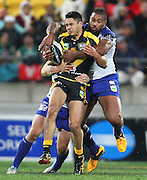 Warriors' Shaun Johnson on the attack during the 2013 NRL season. Vodafone Warriors v Canterbury Bulldogs at Westpac Stadium, Wellington, New Zealand on Saturday 11 May 2013. Photo: Justin Arthur / photosport.co.nz