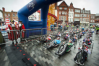 The riders take the start of the Prudential RideLondon Handcycle Classic event in the Market Place at Kingston-upon-Thames.<br /> <br /> <br /> Prudential RideLondon, the world&rsquo;s greatest festival of cycling, involving 70,000+ cyclists &ndash; from Olympic champions to a free family fun ride - riding in five events over closed roads in London and Surrey over the weekend of 9th and 10th August. <br /> <br /> Photo: Dillon Bryden for Prudential RideLondon<br /> <br /> See www.PrudentialRideLondon.co.uk for more.<br /> <br /> For further information: Penny Dain 07799 170433<br /> pennyd@ridelondon.co.uk