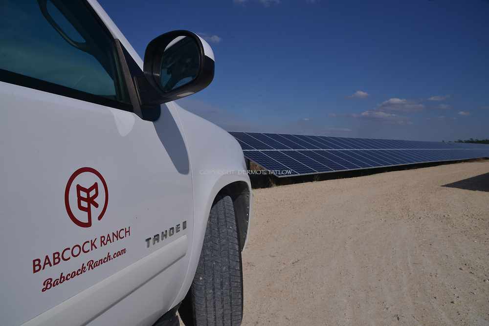 Solar panels provide electricity.<br /> Babcock Ranch is America's first solar powered eco-town. 170 miles NW of Miami, near Fort Myers it is estimated to grow to  population of 50,000 people. Like a small town it will have its own schools offices and medical facilities as well as shops and restaurants.<br /> Syd Kitson, the founder was a former NFL football player turned property developer.