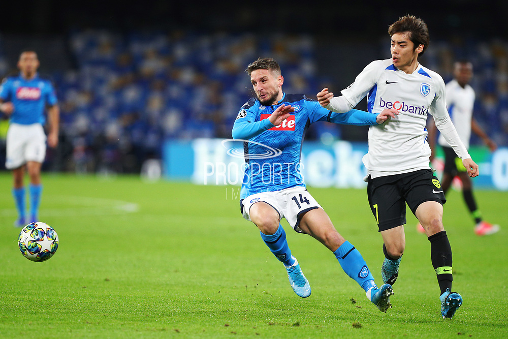 Dries Mertens of Napoli (L) and Junya Ito of Genk (R) in action during the UEFA Champions League, Group E football match between SSC Napoli and KRC Genk on December 10, 2019 at Stadio San Paolo in Naples, Italy - Photo Federico Proietti / ProSportsImages / DPPI