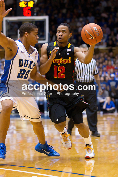 DURHAM, NC - JANUARY 09: Andre Dawkins #20 of the Duke Blue Devils defends Terrell Stoglin #12 of the Maryland Terrapins on January 09, 2011 at Cameron Indoor Stadium in Durham, North Carolina. Duke won 71-64. (Photo by Peyton Williams/Getty Images) *** Local Caption *** Terrell Stoglin;Andre Dawkins