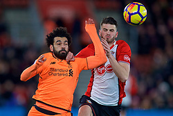 SOUTHAMPTON, ENGLAND - Sunday, February 11, 2018: Liverpool's Mohamed Salah and Southampton's Wesley Hoedt during the FA Premier League match between Southampton FC and Liverpool FC at St. Mary's Stadium. (Pic by David Rawcliffe/Propaganda)