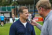 Forest Green Rovers manager, Mark Cooper being interviewed during the Vanarama National League match between Dover Athletic and Forest Green Rovers at Crabble Athletic Ground, Dover, United Kingdom on 10 September 2016. Photo by Shane Healey.