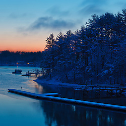 Sagamore Creek at sunrise in winter in Portsmouth, New Hampshire.