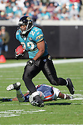 JACKSONVILLE, FL - DECEMBER 12:  Running back LaBrandon Toefield #22 of the Jacksonville Jaguars gains yardage in the open field after catching one of two passes against the Chicago Bears on December 12, 2004 at Alltel Stadium in Jacksonville, Florida. The Jags defeated the Bears 22-3. ©Paul Anthony Spinelli *** Local Caption *** LaBrandon Toefield