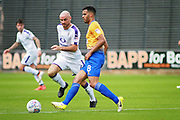 Mansfield Town midfielder Jacob Mellis (8) and Luton Town midfielder Alan McCormack (4) during the EFL Sky Bet League 2 match between Mansfield Town and Luton Town at the One Call Stadium, Mansfield, England on 26 August 2017. Photo by Nigel Cole.