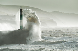 "© Licensed to London News Pictures. 09/02/2014. Aberystwyth, UK. Severe gales, gusting up to 70mph,  continue to batter the west wales coast at Aberystwyth, with a Met Office ""be prepared""  amber warning still in place.  Photo credit : Keith Morris/LNP"