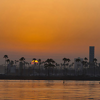 Long Beach, CA - Apr 19, 2015:  Sun rises on the Long Beach Grand Prix for the Tequila Patron Sports Car Racing Showcase at in Long Beach, CA.