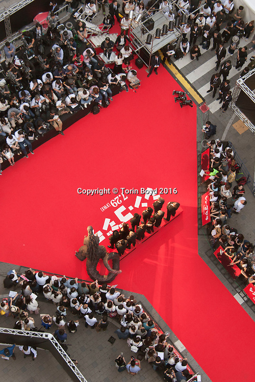 "July 25, 2016, Tokyo, Japan: This is the red carpet ceremony for ""Godzilla Resurgence"" (Japanese title ""Shin Godzilla""), attended by the cast and crew. Co-directed by Hideaki Anno and Shinji Higuchi, this film will be released nationwide in Japan on July, 29, 2016. This is the 29th Toho Co. Ltd. Godzilla release, but there are 31 films in this franchise with the other two made overseas. This took place in Tokyo's Kabuki-cho district where Toho opened a multi cinema complex in 2014. They now hold all their premiers and red carpets at this location. The first Godzilla film was released by Toho in 1954, but in 2004 the studio announced an end to the film series. In 2014, on the 60th annversary of Godzilla films, Toho announced production of a Godzilla ""re-boot"", slated for release in 2016. Godzilla Resurgence stars actors Hiroki Hasegawa, Yutaka Takenouchi and Satomi Ishihara. This will be released overseas in Autumn 2016. (Torin Boyd/Polaris)."