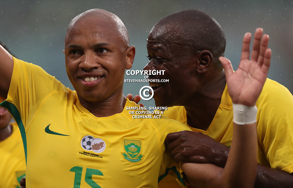 Andile Jali of Bafana Bafana South Africa celebrates scoring his goal during the match between Bafana Bafana South Africa and Guinea-Bissau at Moses Mabhida Stadium in Durban South Africa,25 March 2017 (Steve Haag)