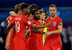 MOSCOW, RUSSIA - Tuesday, July 3, 2018: England's Jordan Henderson is consoled by team-mates Danny Rose and Marcus Rashford after missing his side's third penalty of the shoot-out during the FIFA World Cup Russia 2018 Round of 16 match between Colombia and England at the Spartak Stadium. (Pic by David Rawcliffe/Propaganda)