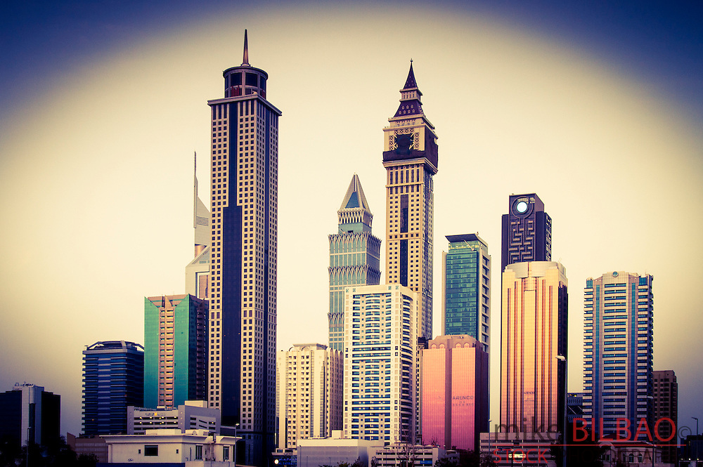 Skyscrapers in city center. Jumeirah area. Dubai city.  Dubai. United Arab Emirates.