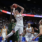Katie Lou Samuelson, UConn, shoots two during the UConn Huskies Vs USF  2016 American Athletic Conference Championships Final. Mohegan Sun Arena, Uncasville, Connecticut, USA. 7th March 2016. Photo Tim Clayton