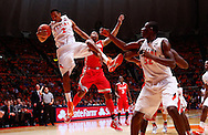 CHAMPAIGN, IL - JANUARY 05: Joseph Bertrand #2 of the Illinois Fighting Illini snags a rebound against Lenzelle Smith, Jr. #32 of the Ohio State Buckeyes at Assembly Hall on January 5, 2013 in Champaign, Illinois. Ilinois defeated Ohio State 74-55. (Photo by Michael Hickey/Getty Images) *** Local Caption *** Joseph Bertrand; Lenzelle Smith, Jr.