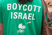 Girl wearing a T-shirt with a slogan advocating the boycott of Israel