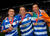 Photo: Ed Godden.<br /> Reading v Queens Park Rangers. Coca Cola Championship. 30/04/2006. Reading players Shane Long, Kevin Doyle and Stephen Hunt celebrate winning the Championship.